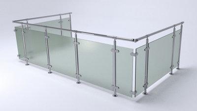 Glazen balustrade boven montage